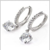 Wholesale Factory new hot jewelry ear pin alloy diamond plating round earrings
