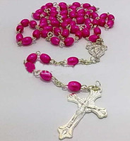 rosary necklace - Fashion silver cross necklace crystal rosary necklace