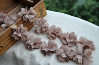 Wholesale Lace Trim High Quality Coffee Chiffon Flower Lace Trim DIY Handmade Accessory AA02 yard