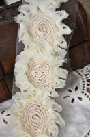 alteration supplies - Beige Chiffon Lace Trim Rose DIY Handmade Accessory DIY Fabric Crafts Alterations Supplies yard