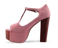 Wholesale classic women fahsion T strap wooden heel sandal colors dress shoes