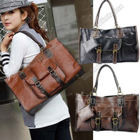 Wholesale Women Fashion Retro Stitching Handbag Shoulder Tote Bag Cross PU Leather Zero Purse Agood