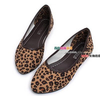 Wholesale 2012 New Fashion women lady leopard flat heels cuspate shoes Footwear colors free ship