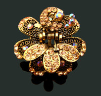 Wholesale fashion vintage hair jewelry zinc alloy rhinestone peacock hair claw Hair Accessories mixed color FC485