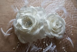 Wholesale Glamorous New Birdcage Bridal Veil White Pearl Feather Fascinator