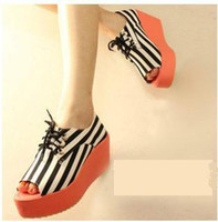 Wholesale 2012 New Fashion women lady zebra stripe round dot platformed heels shoes Fish Mouth sandal colors