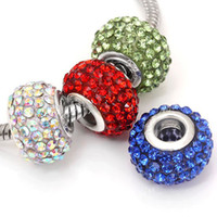 Wholesale 120pcs Crystal Rhinestone Beads Big Hole Loose Charm European Beads Fit Bracelet