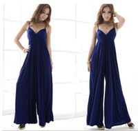Cheap Womens Sexy Long Palazzo Jumpsuit Trousers Suspenders Wide Romper Long Pants q45