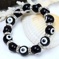 Wholesale 10mm Black Evil Eye Lampwork Glass Round Beads Handmade Stretchy Bracelet Bangle Hot