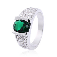 Wholesale Chic Men s Green Emerald KT White Gold Filled Ring Size Hot Gift
