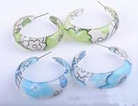 acrylic fabric - Fashion jewelry Stylish and beautiful acrylic pattern fabric C shaped earrings Optional STYLE