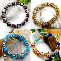 Wholesale 60pcs Beautiful Colorful mm Lampwork Evil Eye Glass Beads European Charm Stretchy Bracelet Bangle