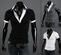 Men Cotton Polo monde fashion Men's slim shirts Men's T-shirts men's Short sleeve shirts Polo shirts black 2077-2