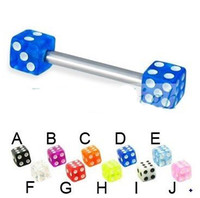 Unisex acrylic dice - Dice Barbell Tongue Ring Tongue Piercing Fashion Jewelry100pcs