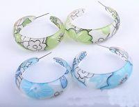acrylic fabric - Stylish and beautiful acrylic pattern fabric C shaped earrings Optional the STYLE
