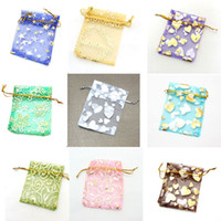 Wholesale 500 Mixed Jewelry Box Luxury Organza Jewelry Pouches Gifts Bags For Ring Wedding Gifts Drawstring Pouch