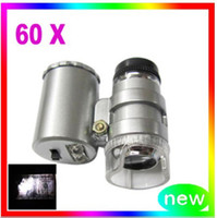 Wholesale Hot New x Jewelers Loupe Magnifier LED Flourescences Light Microscope and accessories with tracking number