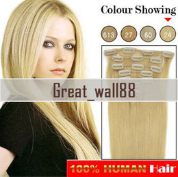 Wholesale 15 quot quot quot g Clip in Hair Extensions Remy Human Hair Extension set DHL Free CLH07