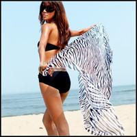 Wholesale Zebra Stripe Bikini scarf Beach Sarong Swimwear Scarf Shawl Flame Sarong Sexy Women Beachwear SJ11