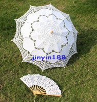 Wholesale Battenburg White Lace Parasol Umbrella Wedding Bridal White