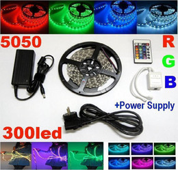 5050 SMD RGB LED Strip Light 5M 300led non Waterproof strips lighting+ 24 Keys Remote IR Controller + Power adapter 12v 5a