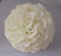 Wholesale Artificial silk kissing open roses flower ball ivory cream color