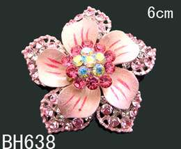 Wholesale hot sell fashion Silver plated zinc alloy rhinestone flower brooch costume jewelry Mixed colors BH638
