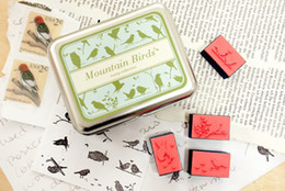 Wholesale Wooden mountain birds desgin vintage Antique Stamps seal diary carved gift craft toy DIY PC SET