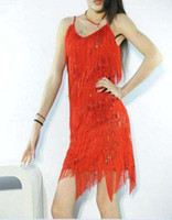 Wholesale clothing Stage Clothing Latin Dance Dresses Full Sequined Tassels Dresses