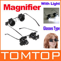 Wholesale 20X Jeweler Watch Repair Magnifying eye Glasses Style Magnifier Loupe Lens With LED Light H8129
