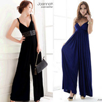 Wholesale woman summer Euramerican elastic V neck jumpsuit black blue one size violet_rose