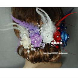 Wholesale Flash powder feather beaded flowers the bride headdress flower the bride tire