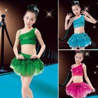 Latin ballet performance dress - Children s performance Clothing Girls Costumes Sequined Veil Latin Skirt Dance Modern Latin Ballet Dresses color