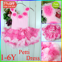 Wholesale Infant Petti Tutu Dress For Girl Pink Lace Party Dress With Bowknot Chiffon And Cotton Age Baby Y