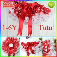 Wholesale Unique Girls Tutu Party Favors Spot Red Dance Wear With Sation Stripe Y christmas Baby Tutu Skirt