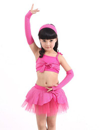 Wholesale Children s stage performance clothing dance skirt suspenders Latin skirts dance dress