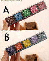 Wholesale Cute Colorful Inkpad Stamps seal gift craft toy DIY tool Decoration Office Stationery PC set
