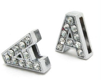 Wholesale mm A rhinestone DIY Slide letters Charm Accessories