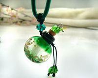 Bohemian glass pendant - Murano Glass Perfume Bottle Pendant Necklace black Aroma Necklace Perfume Vials