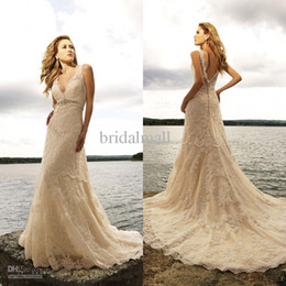 Wholesale In stock gorgeous sexy V neckline chapel train mermaid champagne lace wedding dresses wedding gowns