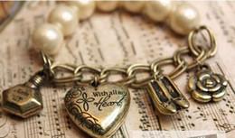 Шарм Vintage Аватара сердце любовь и браслет Часы Pearl с бантом # 4004