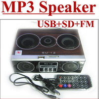 Wholesale Mini Sound box MP3 player Mobile Speaker boombox FM Radio SD Card reader USB SU12