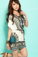 batwing dress pattern - Fashion Women Summer Fashion Casual Loose Short Sleeve Batwing Pattern Dress Blue Red