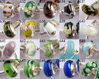 Crimp & End Beads chamilia beads - 500pcs mixed style silver Single core Big Hole glass Beads Fit Biagi Chamilia Charms Brac
