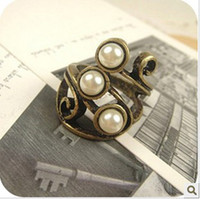 Wholesale Simple Totem Pearl Retro Rings European And American Style Bohemian Rings