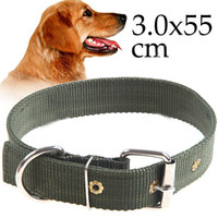 Wholesale Best Quality x Canvas Dog Collar Pets Neck Strap Military Green