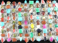 Wholesale Mixed natural gemstone rings fashion rings costume rings finger rings