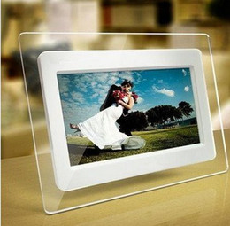 Wholesale 7 inch TFT LCD Wide Screen Desktop Digital Photo Frame glass Photo Frame white