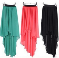 Wholesale Fashion Women Ladies OL Chiffon Long Asymmetrical Hem Pleated Skirt Spring Summer Elastic Waist