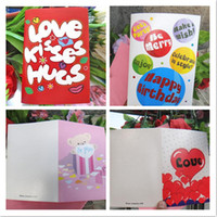 Wholesale Sound recording card love heart greeting card happy birthday card mixed patterns